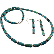 JFTS Blue Green Jasper Necklace & Earrings Set