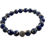 JFTS Blue Sea Sediment Jasper Men's Bracelet