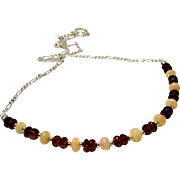 JFTS 925 Sterling Silver Red Garnet & Ethiopian Opal Necklace