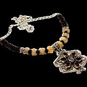JFTS 925 Sterling Silver Garnet & Ethiopian Opal Necklace W/Pendant