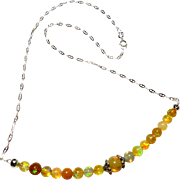 JFTS 925 Italian Sterling Silver Ethiopian Opal Necklace