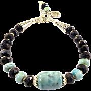 JFTS Natural Larimar & Blue Sapphire Bracelet