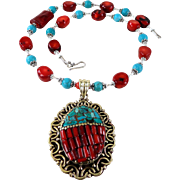 Genuine Red Coral & Turquoise Necklace W/Tibetan Pendant