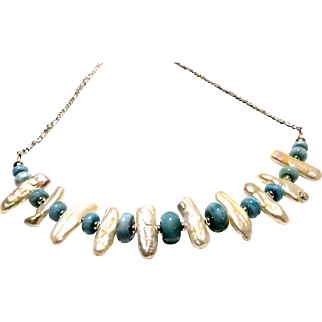 JFTS Natural Larimar and Cultured Freshwater Stick Pearls Necklace