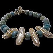 JFTS Natural Larimar and Cultured Freshwater Stick Pearls Bracelet