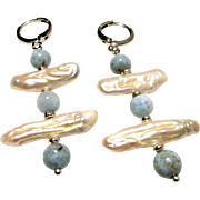 JFTS Natural Larimar and Cultured Freshwater Stick Pearls Earrings