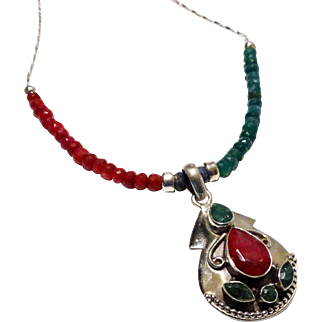 JFTS Emerald, Ruby & Blue Sapphire Necklace W/Pendant