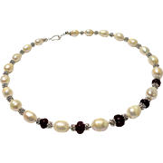JFTS Cultured Freshwater Pearls & Ruby Necklace