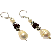 JFTS Cultured Freshwater Pearl &  Ruby Earrings
