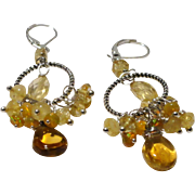 JFTS Citrine Dangle Hoop Earrings
