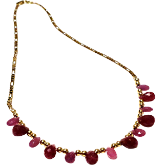 JFTS Ruby & Pink Sapphire 14/18 Kt Gold Filled Necklace