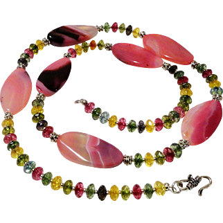JFTS' 31 Inch Pink Striped Agate & Multi Color Crystals Necklace