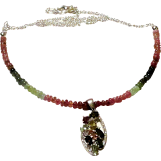 JFTS' 925 Sterling Silver Watermelon Tourmaline Necklace & Pendant