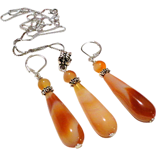 JFTS' 925 Sterling Silver Orange Agate Necklace & Earrings Set