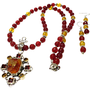 JFTS Red Agate & Citrine Necklace W/.Amber Pendant
