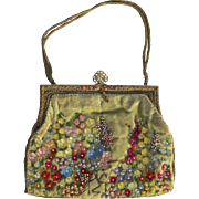 A Vintage 1920s Green Velvet Handbag Purse, Beaded and Embroidered with Lucite Flowers