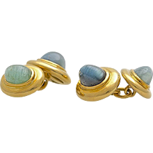 A Pair of 18 KT Yellow Gold and Petrol Blue Green Tourmaline Cabochon Cufflinks made in the 1950s