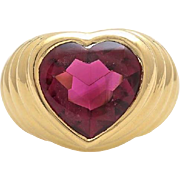 A Heart Shaped Pink Tourmaline Ladies Ring set in 18KT Yellow Gold