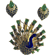 A Vintage Peacock Pin and Earring Set Signed Boucher