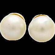 A Vintage Pair of 11,5 mm Diameter South Sea Pearl Stud Earrings In 18KT Gold