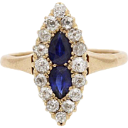 A Victorian Diamond and Blue Sapphire Cluster Ring Set in 14KT Yellow Gold Band, Engagement, Wedding Ring,