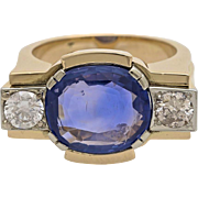 A Vintage 1940s 6,5 Carat Blue Sapphire And Diamond Cocktail Ring, Statement Ring,