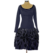 A 1980s Louis Mies Couture Black Puff Ball Skirt Cocktail Dress