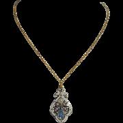 A Delicate Antique Edwardian Pearl Aquamarine Enamel Pendant Necklace