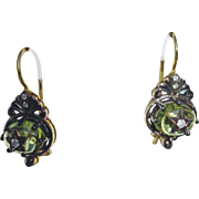 Victorian Peridot and Diamond Dainty Dangle Drop Earrings