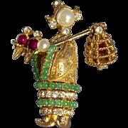 Rare Vintage Ciner Asian Lady Bird Seller Brooch Pin