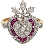 A Vintage Art Deco Diamond and Ruby Halo Ring Set in 18KT Yellow Gold Band