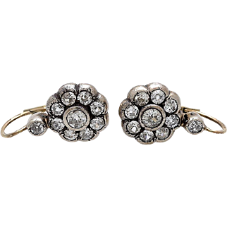 Spectacular Victorian 2.20 cts Diamond Drop Earrings