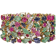 Tutti Frutti 499.35 carats Diamonds Sapphires, Emeralds, Ruby 18k Yellow and White Gold Bracelet