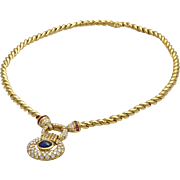 An Important Vintage 18KT Gold Necklace with 3.0 Carat Diamond Pendant and Sapphire Cabochon