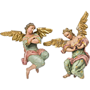 A Pair of Parcel-Gilt Polychrome Wood Angels, Tirolean, Early 18TH Century