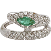 Vintage Emerald and Diamond Snake Ring