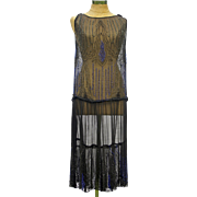 Striking Vintage 1920s Black and Blue Glass Beaded Chiffon Flapper Dress
