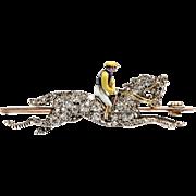 An Edwardian Diamond Race Horse and Jockey Brooch set in 15KT Rose Gold