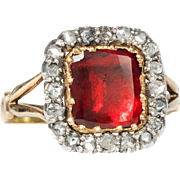A Georgian Garnet and Diamond Cluster set  in 18KT Yellow Gold