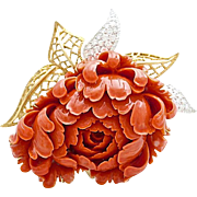 An Extraordinary Vintage 1960s Carved Coral Diamond and 18KT Gold Chrysanthemum Flower Brooch Pin