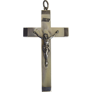 A Large Victorian Sterling Silver and Mother of Pearl Crucifix dated 1897