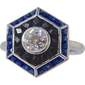 A Vintage Art Deco Style Diamond Onyx and Sapphire Hexagonal Shaped Ring.