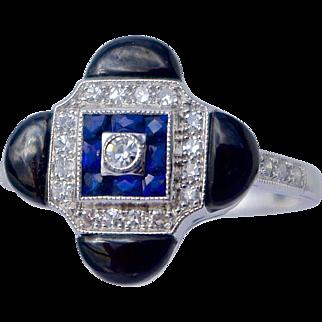 A Vintage Sapphire Onyx and Diamond Dress Ring