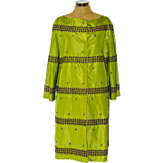 A Vintage Prada Couture Embroidered  Lime Green Silk and Rhinestone Crystal Coat, Evening Coat, Dress Coat