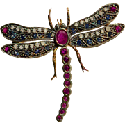 A Spectacular Vintage Ruby Sapphire and Diamond Dragonfly Insect Brooch Pin