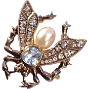 A Large Vintage Aquamarine Cultured Pearl and Diamond Insect Bug  Brooch Pin