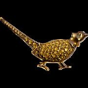 A Wonderful Vintage Citrine Pheasant Bird Brooch Pin