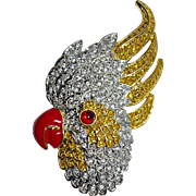 A Vintage 1970's Rhinestone and Enamel Cockatoo Brooch Pin signed Kirk's Folly