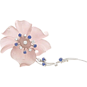A Vintage 1950s Carved Pink Rose Quartz Sapphire Diamond Flower Brooch Pin