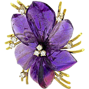 A Large Vintage Amethyst & Diamond Pansy Flower Pendant Brooch Pin
